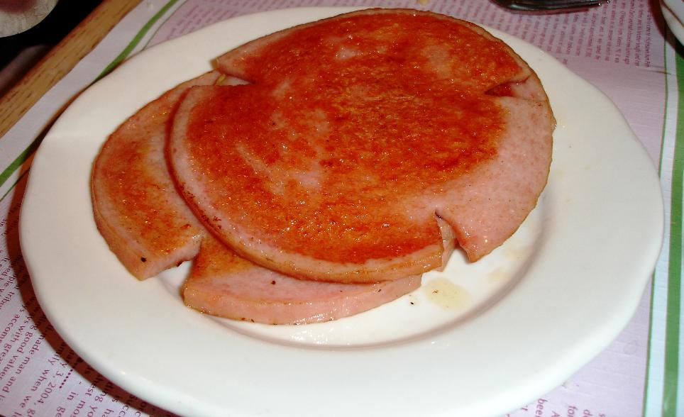 Pork roll is unique to New Jersey. An order at Mastoris consists of three generous slices (one slice was already snatched from the plate before the photo). Something like a cross between bologna and Spam.