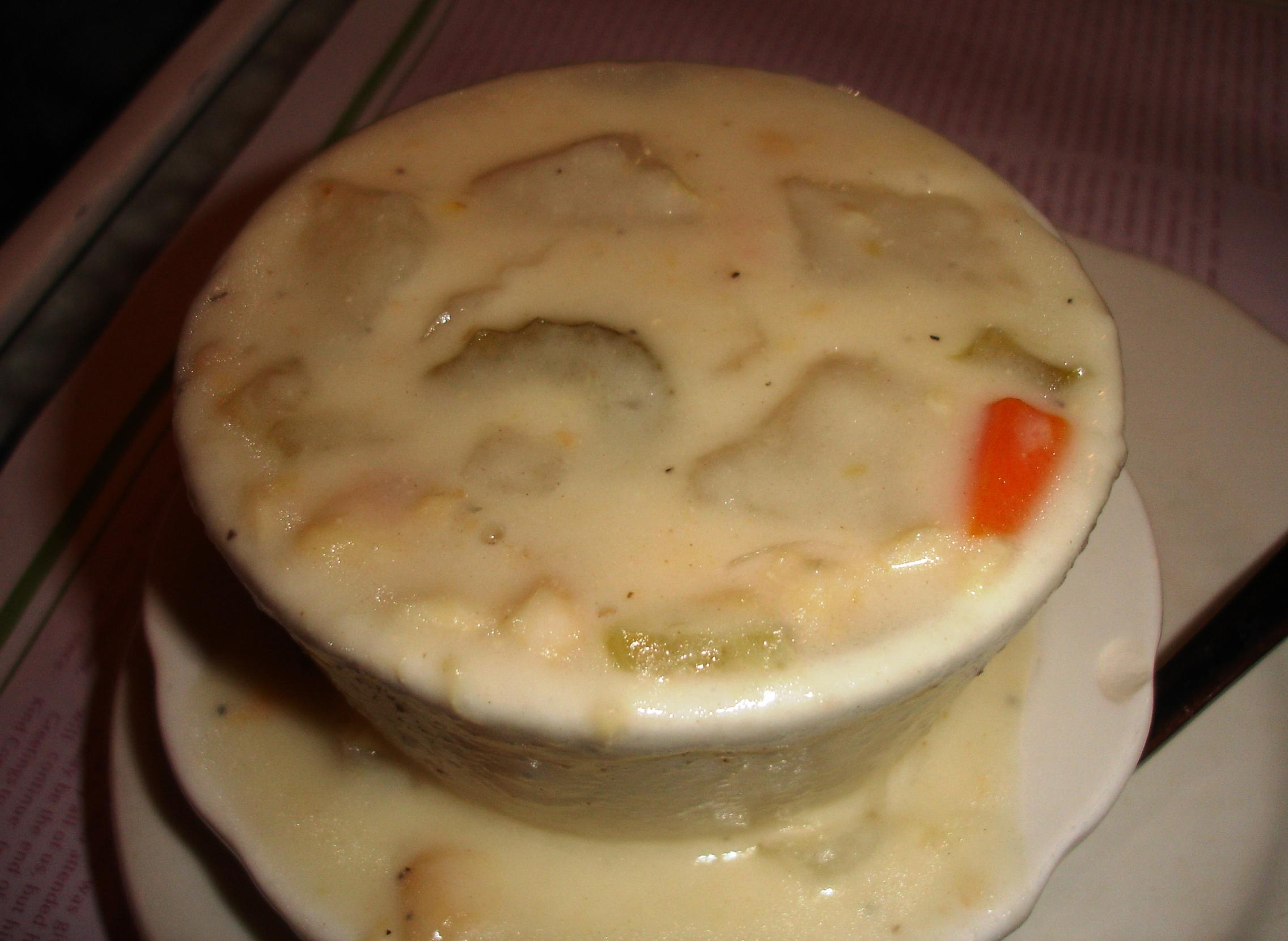 A cup of soup comes with dinner, if you'd like. The seafood chowder is light on seafood but high on flavor.