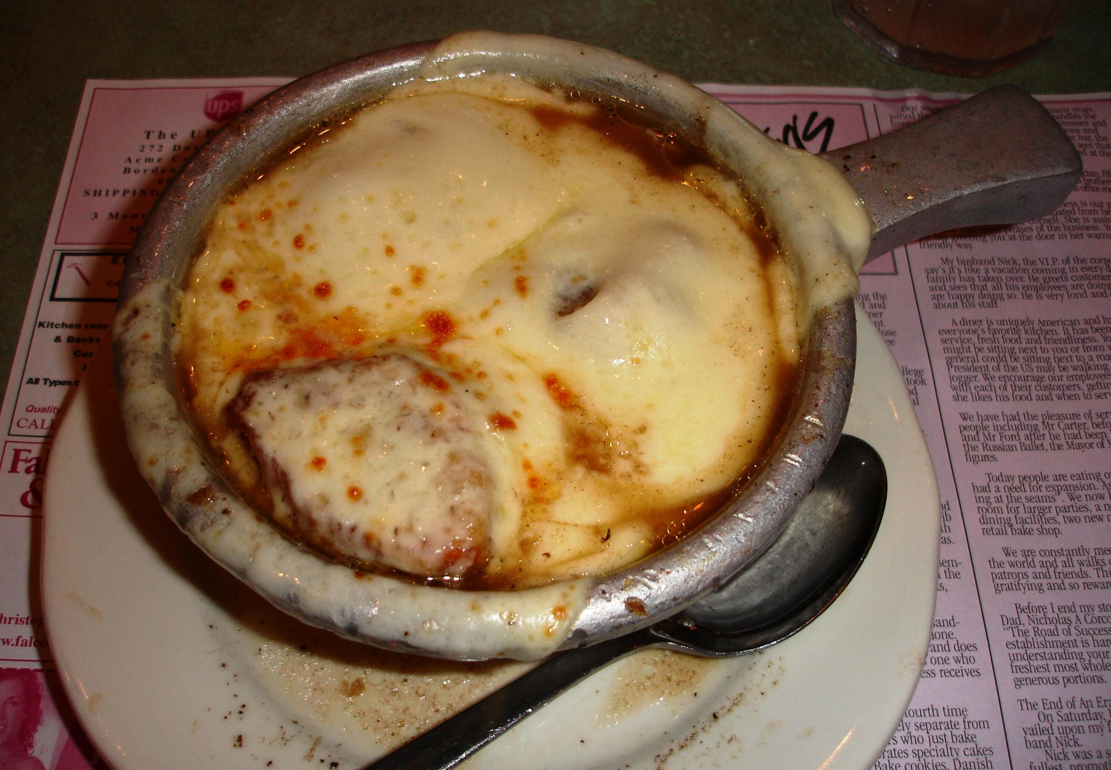 French onion soup looks good but it needs a good, rich onion broth, not this watery-tasting version.