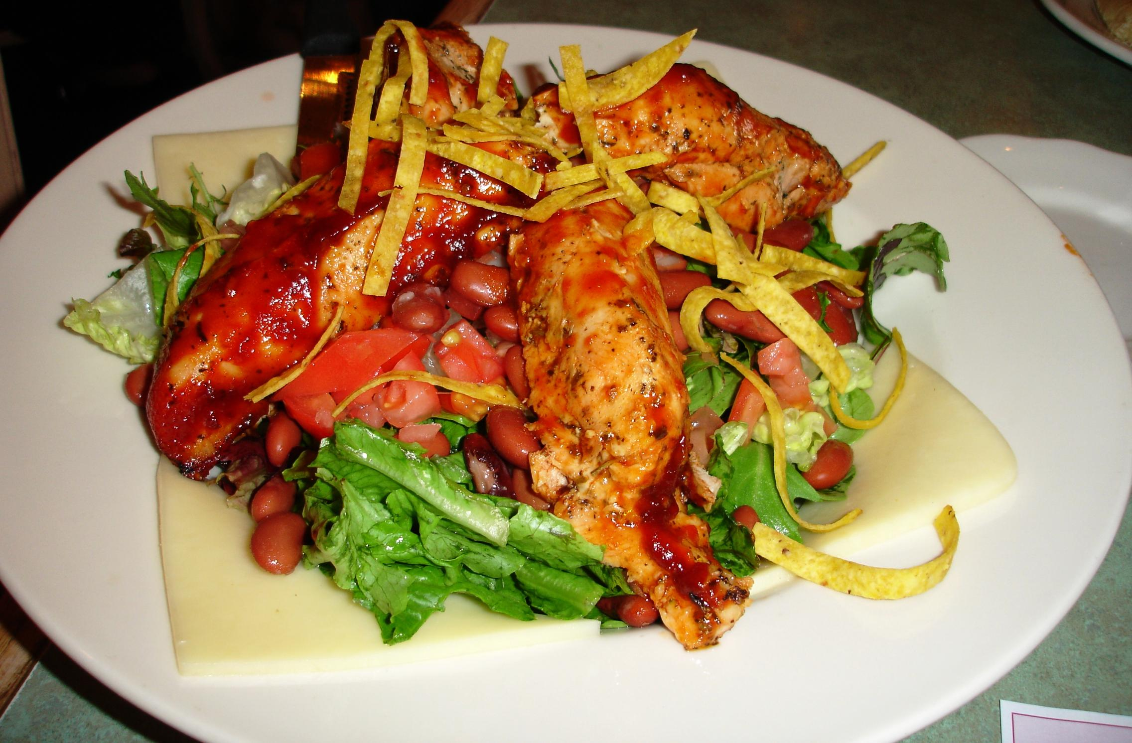 """Technically a salad, but topped with two pounds of chicken breasts in barbecue sauce as a """"garnish"""""""