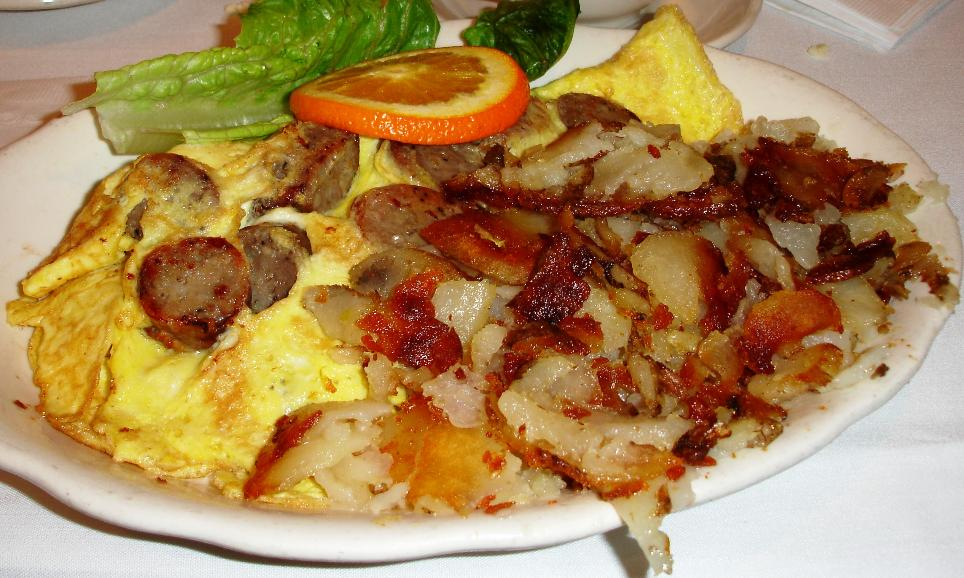 Mastoris' omelets are first rate. This one features lean Italian sausage.