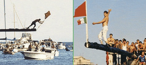 The Greasy Pole contests immediately follow the Seine Boat Races each day.