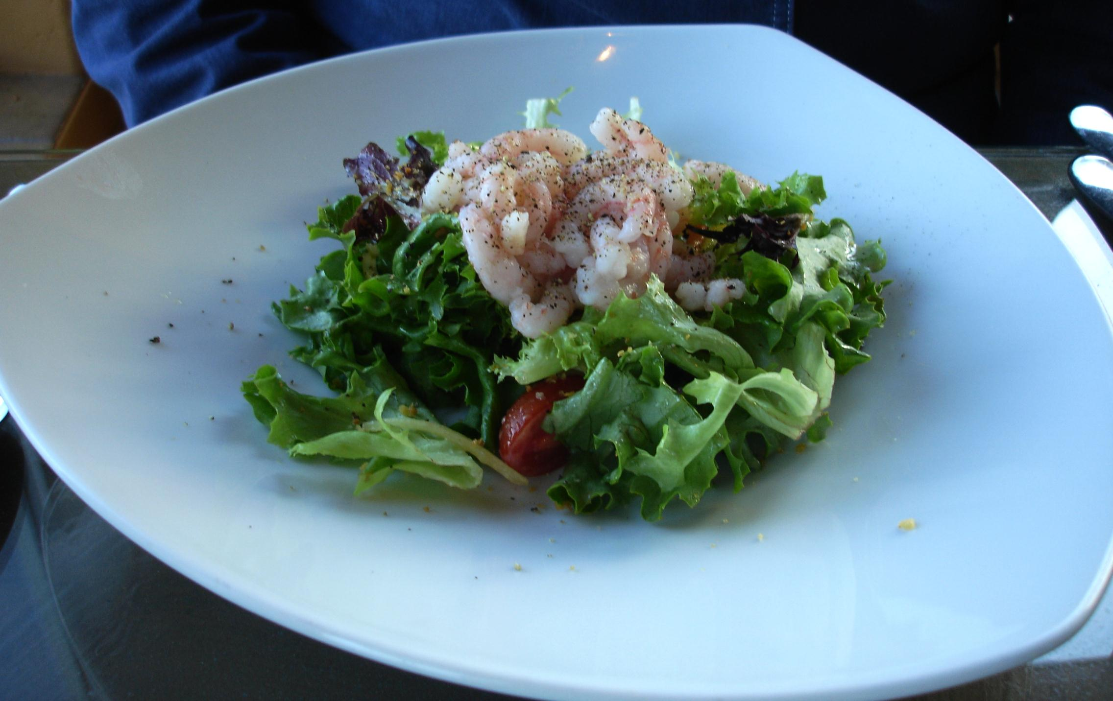 The house salad, or any salad, can be gilded with a cluster of local Oregon pink shrimp for a three dollar tariff.