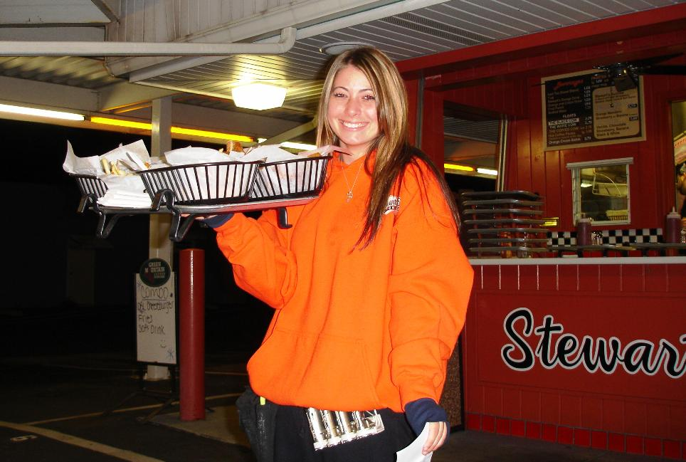 Our carhop for the evening, wearing Stewart's orange