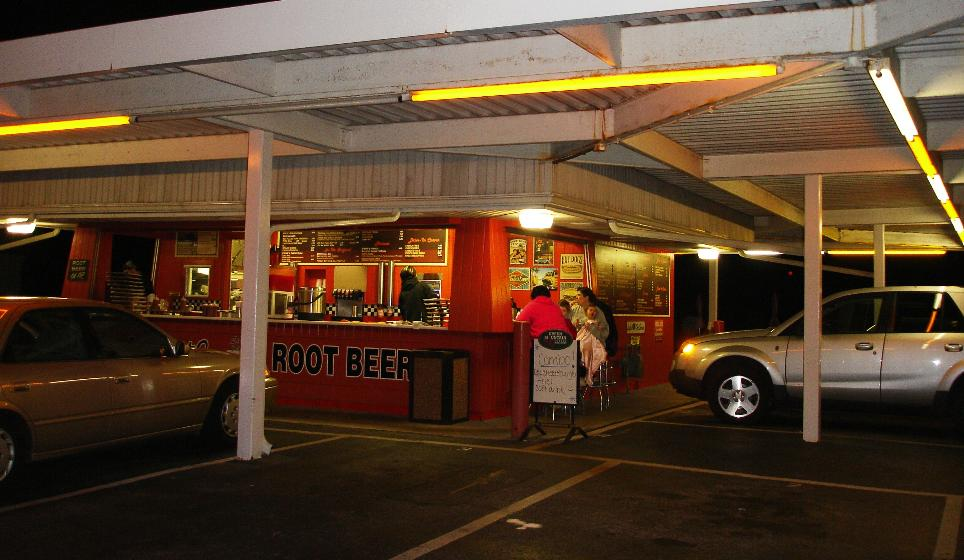 Not only is Stewart's a drive-in with carhops, but you can also walk up and sit down.