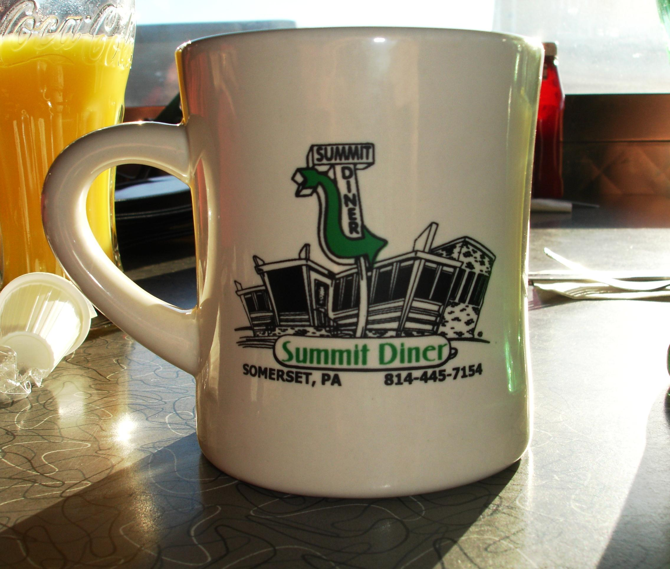 The coffee, like the coffee in virtually all diners, will not satisfy true coffee hounds. Like the mugs, though.