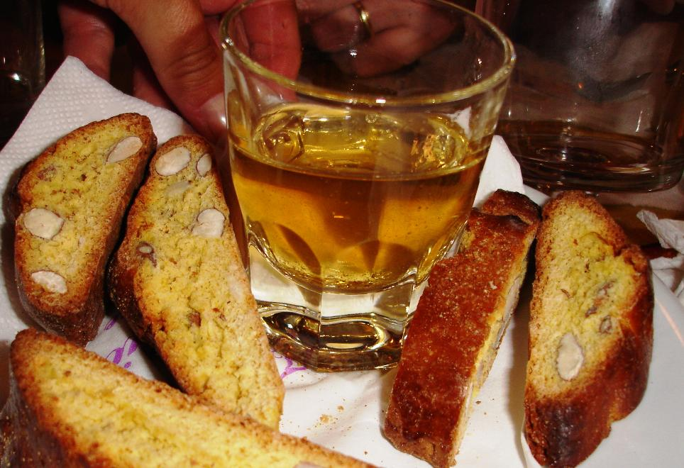 Biscotti e Vin Santo, the traditional Tuscan finish to a meal (the biscotti are usually called cantucci)