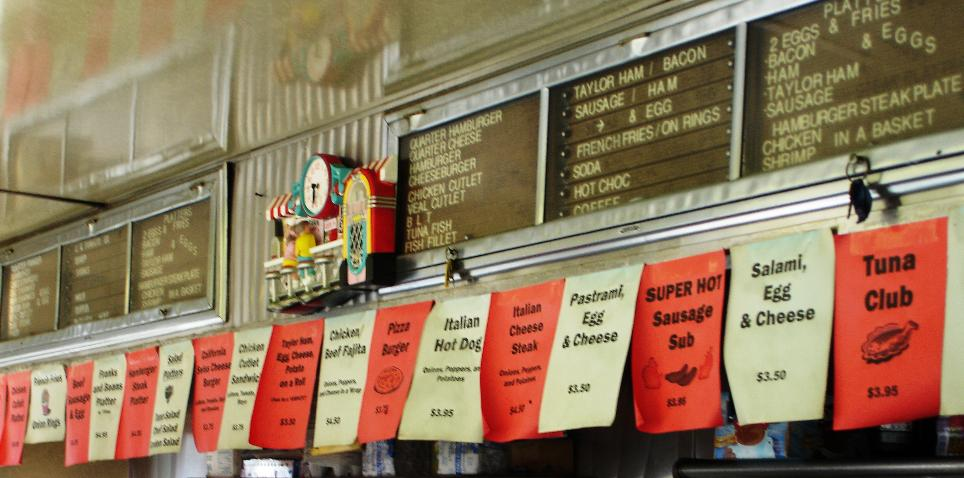 The sheets tacked along the counter that serve as a menu show a distinctly Jersey spin on the traditional lunch counter offerings.