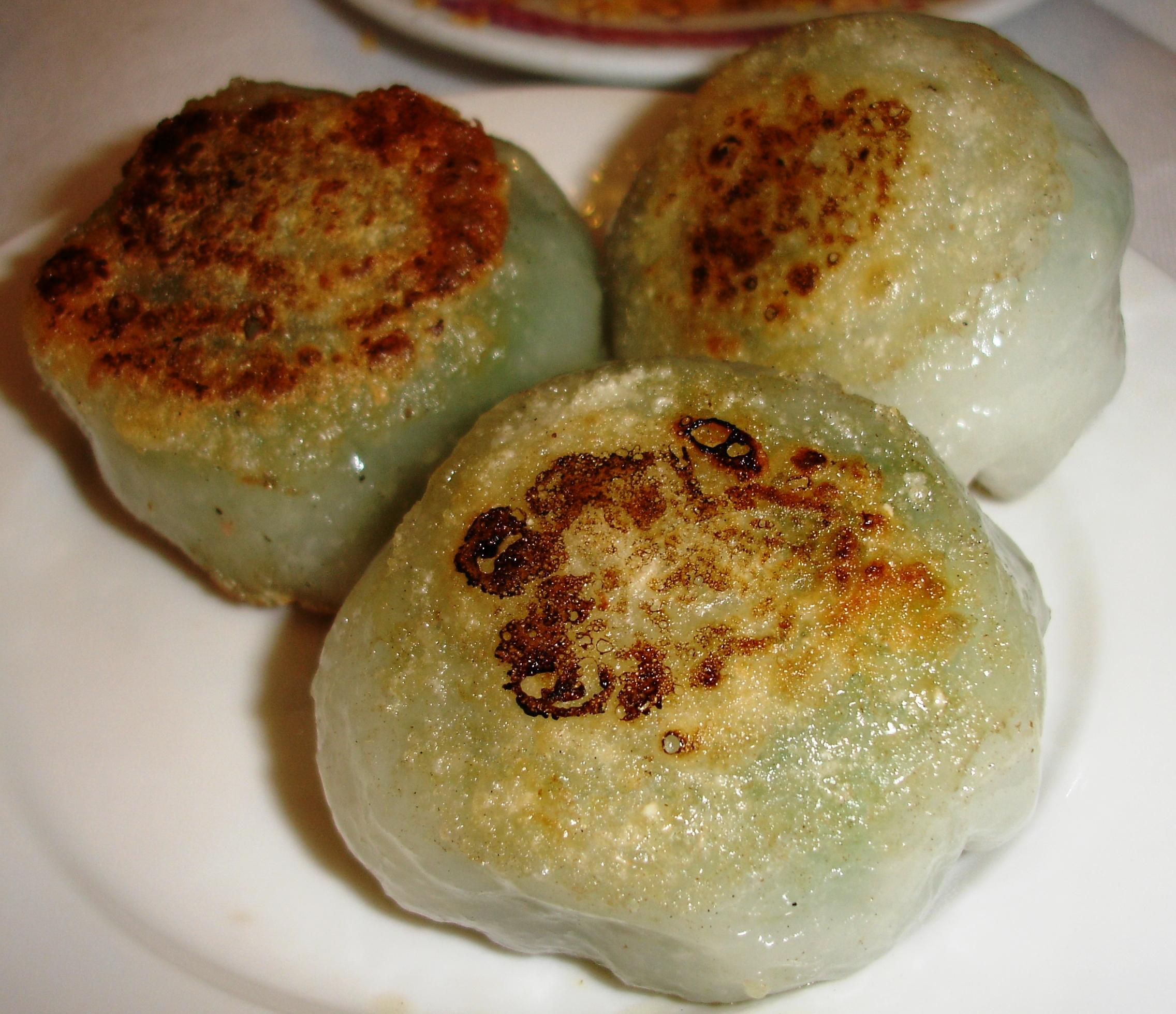 These are chive dumplings filled with Chinese chives and shrimp, one of our favorites.