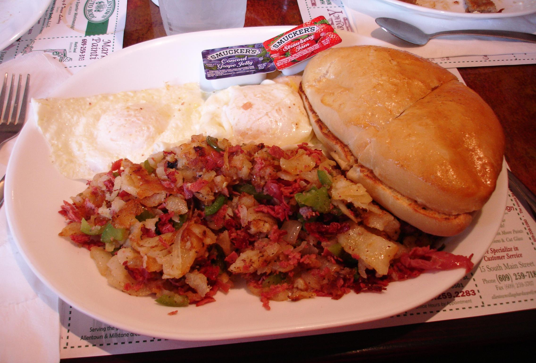 Woody's corned beef hash starts with corned beef, not a can.