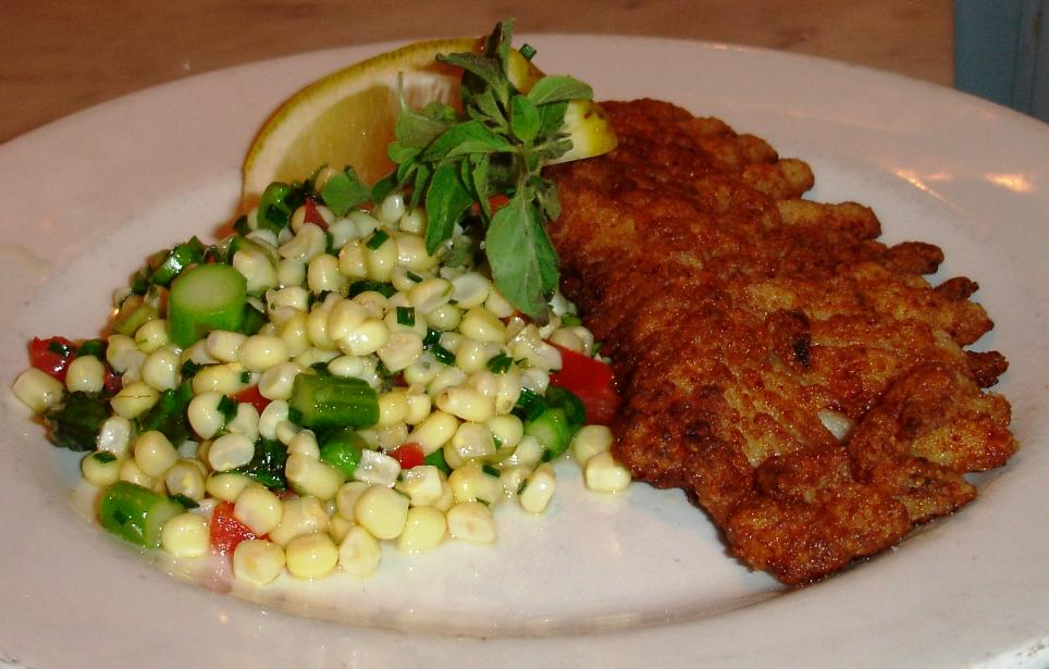 Pan-roasted skate was a fish special one evening. Perfectly cooked. Sweet corn ragout on the side.