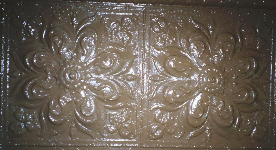 A closeup of the pressed tin in the parlor