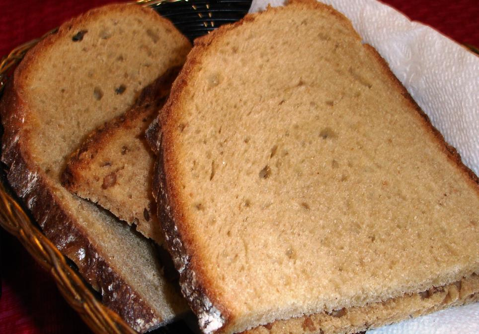 A basket of good, chewy, earthy German rye breads is presented when you sit down.