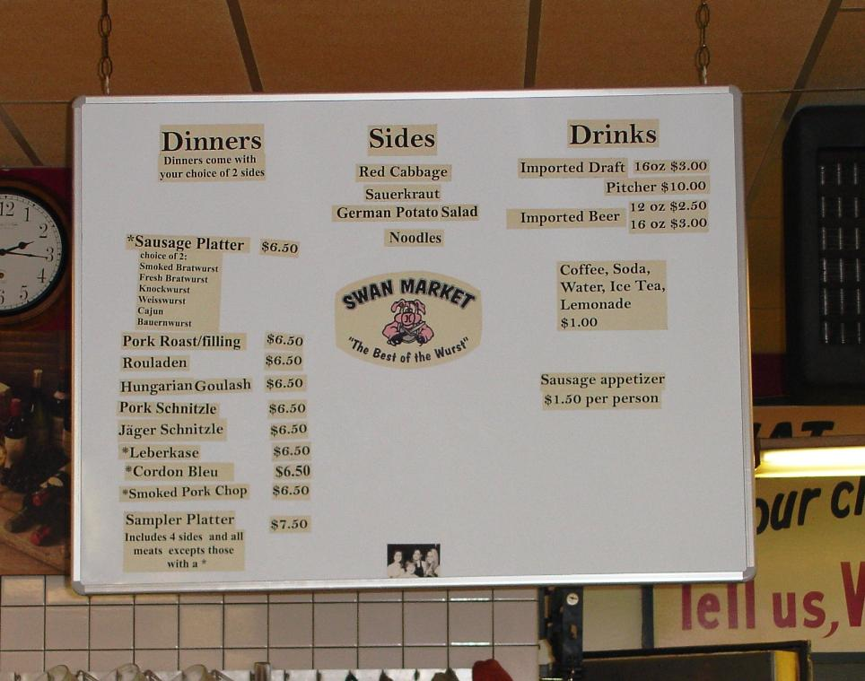 The menu hangs above the meat counter.
