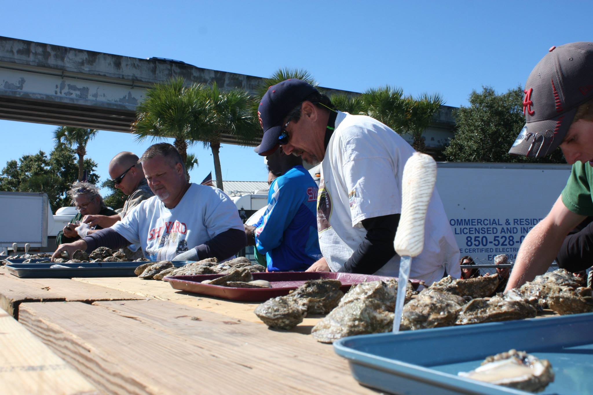 Speed-shucking oysters is a real skill. The best will shuck their 18 oysters in around two minutes.