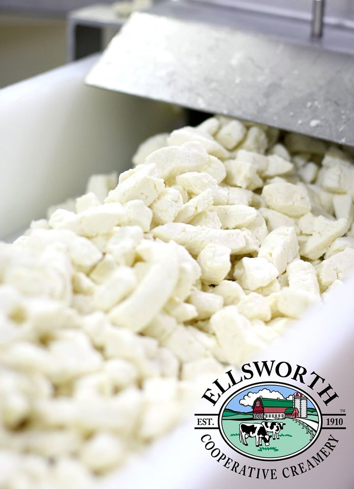 Fresh, white cheese curds from Ellsworth Cooperative Creamery, a short walk from the festival grounds